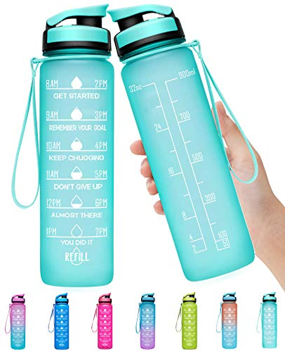 Elvira 32oz Large Water Bottle with Motivational Time Marker & Removable Strainer,Fast Flow BPA Free Non-Toxic for Fitness, Gym and Outdoor Sports-Mint Green