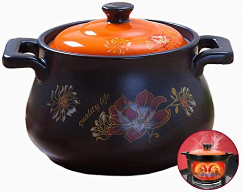 HYYDP Cookware Cooking Pot Ceramic Cooker, Japanese Casserole With Lid, Multi-Purpose Terracotta Pot, Be applicable compatible for Healthy Cooking, Natural Non-stick (Color : Orange3, Size : 4.5L)