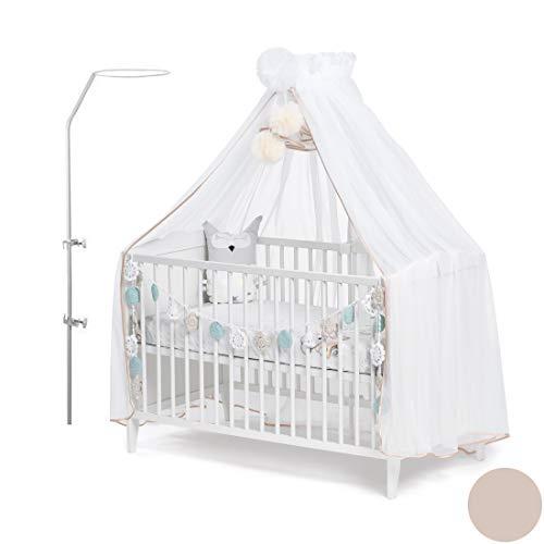 Callyna ® - Ciel de lit bébé XXL avec support, voile qualité LUX Blanc grande taille. Moustiquaire décorative pour lit bébé. Finition Beige