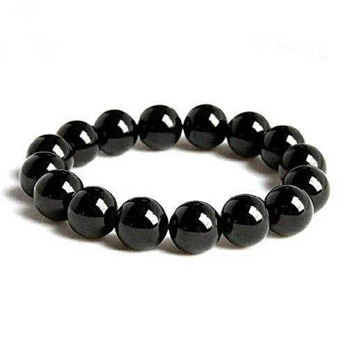 8mm Genuine Black Natural Tourmaline Gemstone Crystal Stretch Bracelet (10MM)