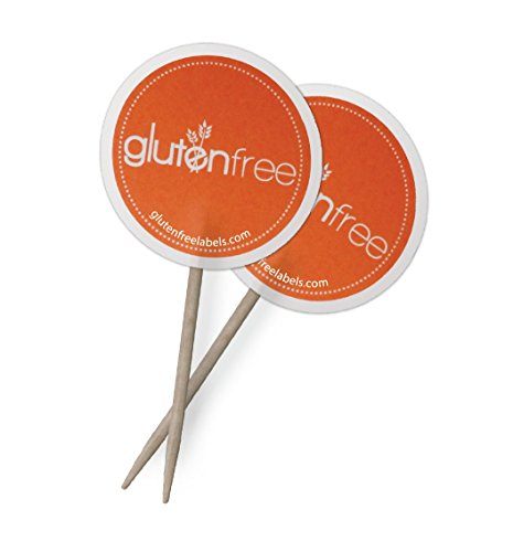 Gluten Free Food Markers 1250 Toothpick Flags for Commercial Kitchens, 50 Packs of 25