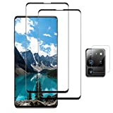 Galaxy S20 Ultra Screen Protector, 9H Tempered Glass Include a Camera Lens Protector,Ultrasonic Fingerprint Compatible,3D Curved, HD Clear for Samsung S20 Ultra 5G Glass Screen Protector