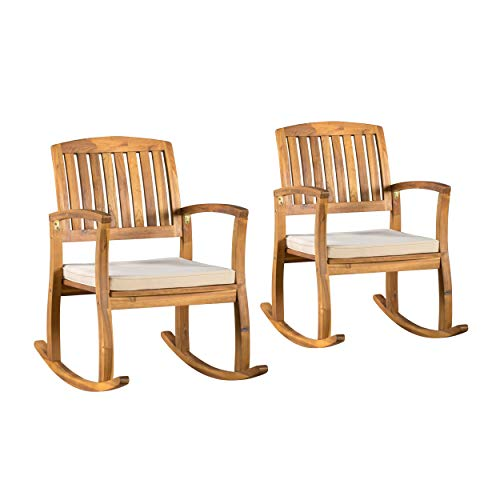 Christopher Knight Home Selma Acacia Rocking Chairs with Cushions, 2-Pcs Set, Teak Finish