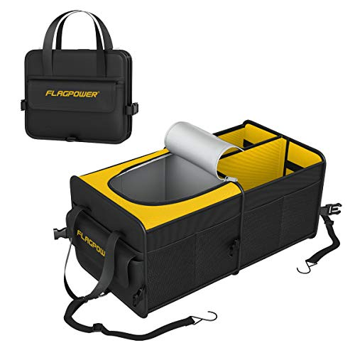 FLAGPOWER Car Trunk Organizer Collapsible Portable Storage Organizer with Insulated Cooler Compartments Tie Down Straps for SUV, Truck, Automotive, Van