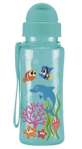Steuber Trinkflasche kid'S Fun aus Kunststoff, 460 ml, Fisch blau, Schraubverschluss mit Schutzkappe, integrierter Strohhalm
