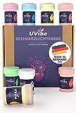 Fluoreszierende Schwarzlicht Farbe - 8x Knallige Neon Farbe für Wände, Kunst und weiteres - Tag und UV Leuchtfarbe - UV Farbe für leuchtende Deko - Fluoreszierende Farbe MADE IN GERMANY von UVibe