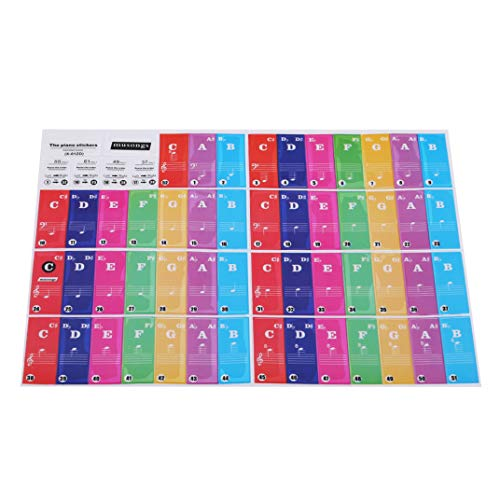 DYSCN Piano Keyboard Aufkleber Key Mehrfarbige, transparente, abnehmbare große Fettdruck-Klavieraufkleber Perfekt für Kinder Kinder Lernen Klavier, Bunte untere Buchstaben