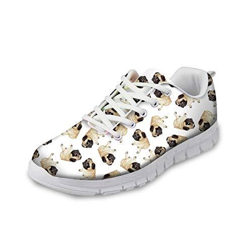 HUGS IDEA Modische Schuhe, mit Totenkopf-Motiv, Mops, Blumen, lustig, leicht, Schaumstoff, für Sport, Laufen, Fitness, Joggen, Weiß - Mops 1 - Größe: 37 EU