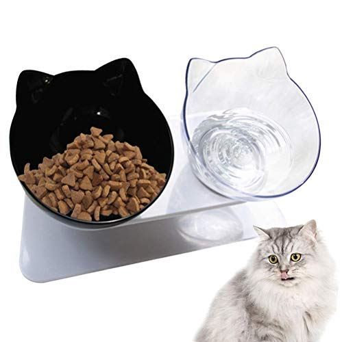 Urijk Katzen Futternapf Katzennäpfe 15° Gekippte Futterschüssel Doppelschüssel rutschfeste Basis Hundenapf Katzennapf Futterschale für Futter Wasser