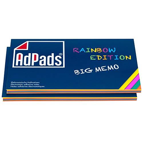 AdPads® elektrostatisch selbstklebende Haftnotiz-Moderationskarten, Rainbow Edition Big Memo   170 x 100mm, 200 Blatt, Bunt   Mixed Static Sticky Notes