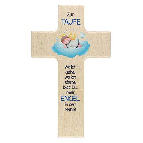 kruzifix24 Taufkreuz für Jungen Schutzengel auf Blauer Wolke Kreuz naturfarben mit Text blau 15 x 9 cm Kinderkreuz Geschenkidee Taufe