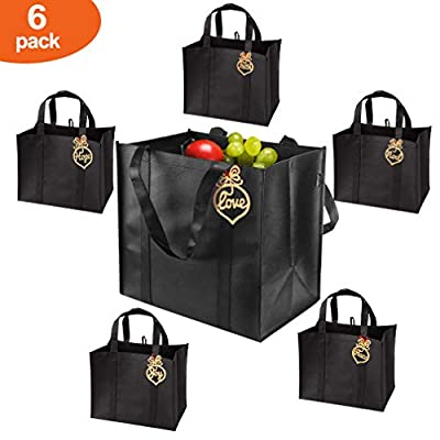Reusable Grocery Bags (6 Pack, Black) - Hold 44+lbs - Large & Durable, Heavy Duty Shopping Bags, Grocery Tote Bags with Reinforced Handles, Thick Bottom Insert Better Support, Blessing Accessories