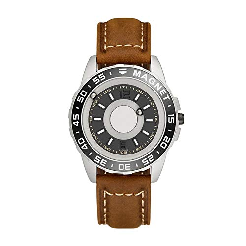 SXWL Original Brand New Magnetic Black Technology no Pointer Blind Touch Men's and Women's high-end Quartz Watch Leather Strap (Color : Brown)