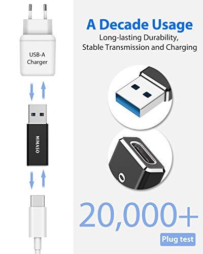 Nimaso USB zu USB C Adapter,USB-C Adapter Stecker Beide Seiten 3.0 für MacBook Pro 2020/2018/2017,Samsung Galaxy S20/S10/S9 Note10,Chromebook Pixelbook,LG V20,Google Pixel 2/2XL,Nexus 6P/5X Schwarz