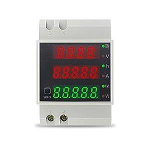 KETOTEK Voltímetro Amperímetro Digital AC 80-300V/100A Medidor de Voltaje Corriente Potencia Energia Electrica Medidor de Consumo Electrico Din Rail Multímetro Probador de Energía