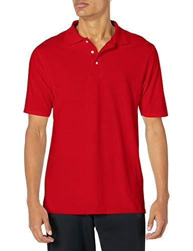 Hanes mens X-Temp Performance Polo Shirt,Deep Red,Medium