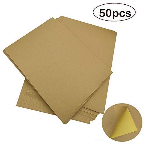 Velidy 50 Blatt Kraft-Aufkleberpapier mit selbstklebendem Heat-Tonertransfer, A4 Braun, Druckkopie, Etikettenpapier für Tintenstrahldrucker/Laser/Kopierer