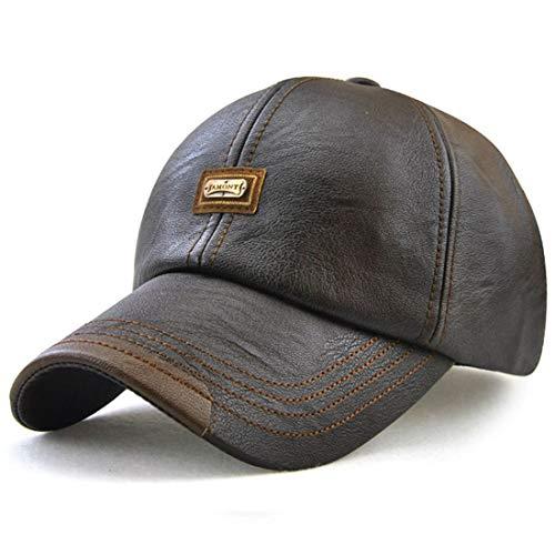 Baseball Cap Men Vintage Cap Adjustable PU Leather Outdoor Sport Driving Sun Hat (Dark Brown)