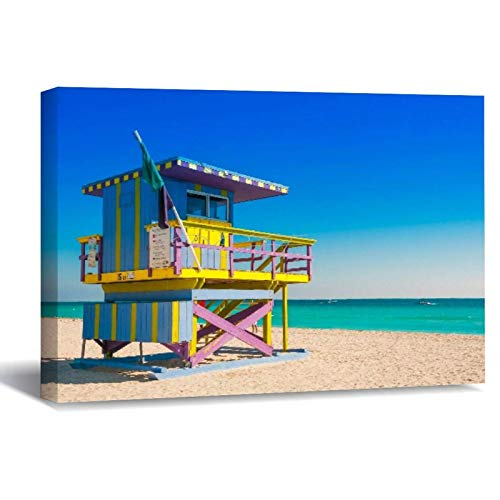 Scott397House Canvas Print Wall Art, South Beach Miami Summer Holiday Travel Wall Framed Artwork Farmhouse Canvas Wall Art for Bedroom 40X50
