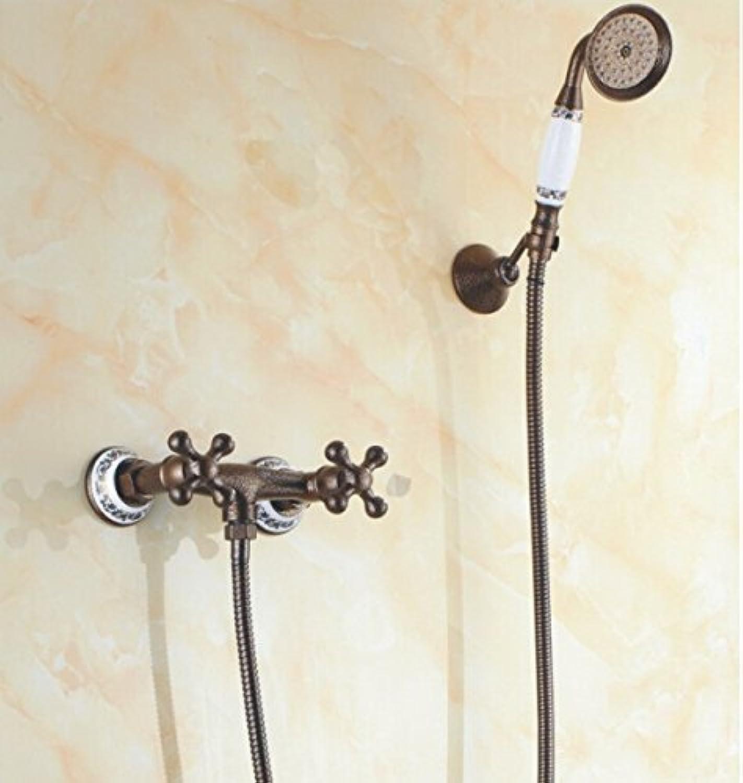 Hochwertige Doppelgriff Antike Messing Wandbrause Set Badezimmer Dusche Mischbatterien Heien und Kalten Kran SF1022, Wei