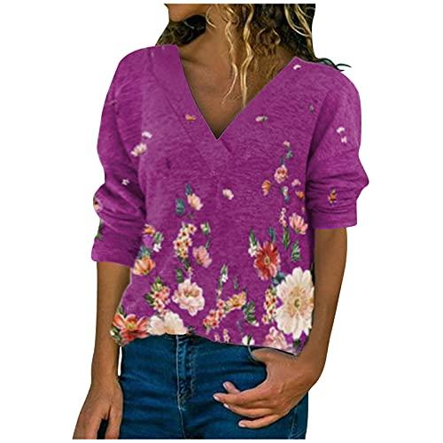 URIBAKY - Maglietta a maniche lunghe da donna, con scollo a V, stile casual, con stampa, top largo, chic, malva, XXL