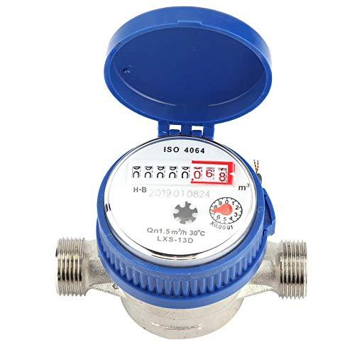 AYNEFY Wasserzähler QN 1,5 Kaltwasser 1/2 Zoll Durchfluss Anschluss 3/4 Zoll Garten Haushalte Wasseruhr Frostgeschützt und UV Schutz