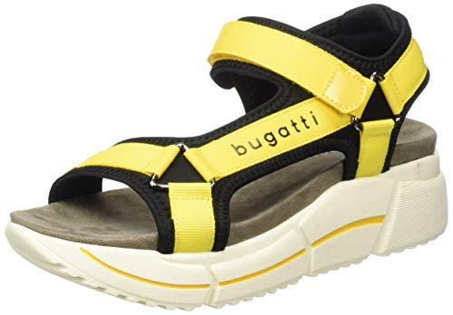 bugatti 431881826957, Sandali con Cinturino alla Caviglia Donna, Giallo Black Yellow 1050, 36 EU