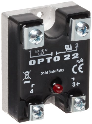 Opto 22 240Di10 DC Control Solid State Relay with LED Indicator, 240 VAC, 10 Amp, 4000 V Optical Isolation, 1/2 Cycle Maximum Turn-On/Off Time, 25 - 65 Hz Operating Frequency