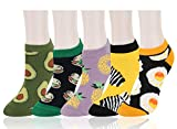 Benefeet Sox Women Girl Cute Funny Crazy Colorful Ankle Sock Novelty Cartoon Animal Food Patterned Cotton Low Cut Liner Gift 5 Pack-Pineapple Avocado Zebra Eggs Hamburger