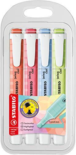STABILO swing cool Pastel Edition - Pochette x 4 surligneurs- citron vert + rose+ LILAS + corail