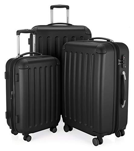 HAUPTSTADTKOFFER - Spree - 3er Koffer-Set Trolley-Set Rollkoffer Reisekoffer Erweiterbar, TSA, 4 Rollen, (S, M & L), Schwarz
