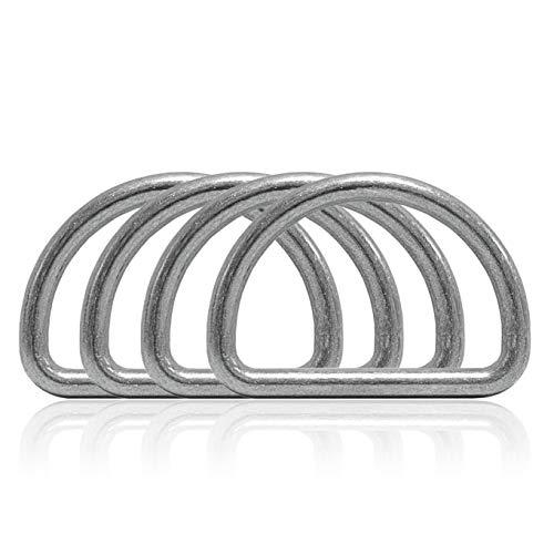 Ganzoo D - ring van staal, set van 4, materiaaldikte 4 mm, DIY hondenhalsband, roestvrij, ideaal met Paracord 550, kleur zilver