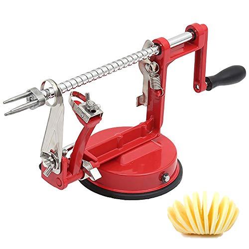 Apple Peeler, Stainless Steel Apple Corer Slicer Peeler, Durable Heavy Duty Die Cast Magnesium Alloy Apple Peeler Slicer Corer with Suction Base(Red)