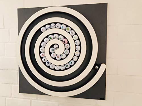 Clipboart® Golfball Spirale für max.105 Bälle anstelle Einer Vitrine Regal für Golfbälle Sammlung individuelles persönliches Geschenk für Golf Spieler Golfkunst Clipboard