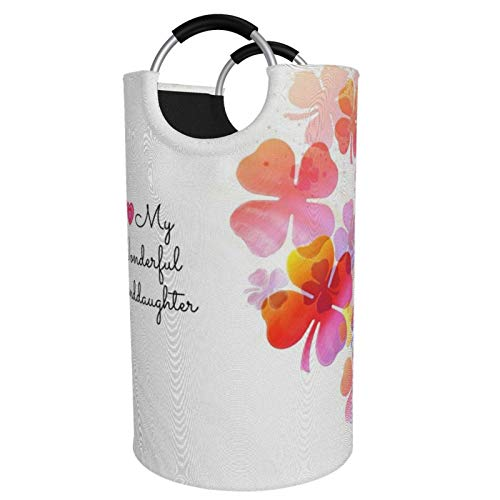 Large Size Foldable Laundry Hamper Bucket I Love My Wonderful Granddaughter Pastel Dirty Clothes bag Bin Storage Basket for Toy Collection Oxford cloth with Stylish Design