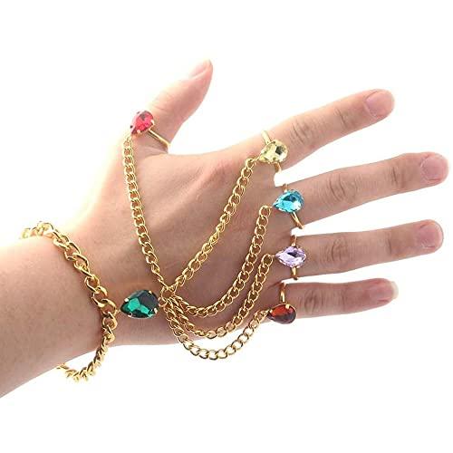 Pulsera de mano de anillo de piedras preciosas multicolor pulsera de piedras preciosas artificiales