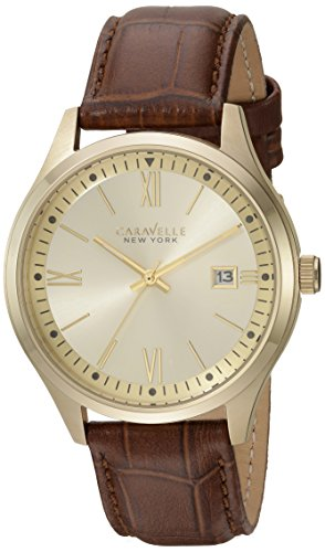 Caravelle New York Men's Stainless Steel Quartz Watch with Leather Strap, Brown, 0.8 (Model: 44B109)