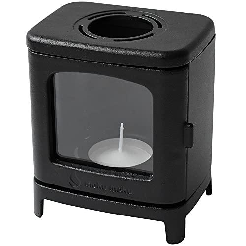 ちいさなまきストーブランプ キャンドルホルダー 暖炉 ミニサイズ 薪ストーブ キャンドル 保温 アウトドア キャンプ 室内 野外 おしゃれ (ブラック)