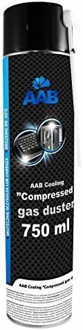 AAB PC Spray Limpiador 750ml para Limpiar Teclados, Ordenadores, Copiadoras, Cámaras, Impresoras y Otros Equipos Eléctricos, Duster, Eliminación de ...