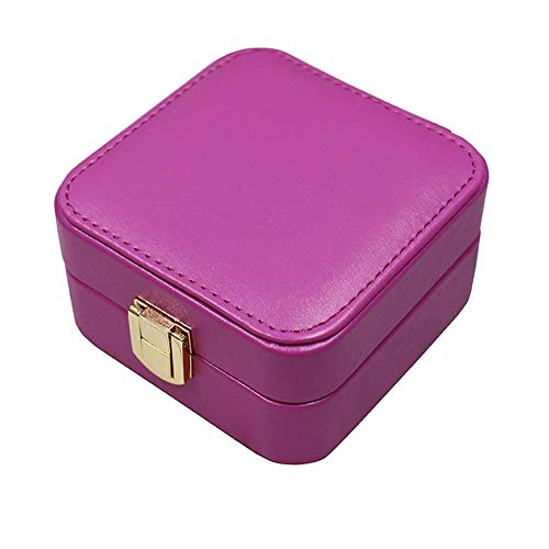 Gymqian Fashion Jewellery Storage Box Leather Jewelry Case with Mirror Necklace Ring Storage Box Gifts for Ladies/Purple / 10 * 10 * 5cm