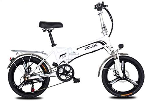 Fangfang Electric Bikes, Adult Mountain Electric Bike, 350W 48V Lithium Battery, Aluminum Alloy 7 Speed Foldable Electric Bicycle 20 Inch Magnesium Alloy Wheels,E-Bike (Color : White, Size : 45KM)