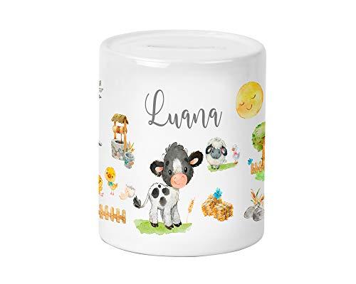 Yuweli Bauernhof Kuh Kinder-Spardose für Jungen und Mädchen mit Namen personalisiert zur Einschulung Taufe Geburtstag Sparschwein