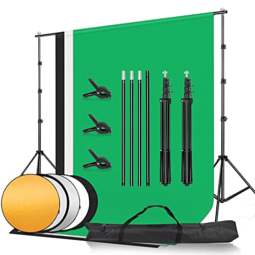 8.5x10FT Background Frame, with 6x9ft/1.8x2.8m Muslin Backdrop (White, Black, Green), 2-in-1 Gold and Silver Reflector, Used for Portrait Product Video Shooting