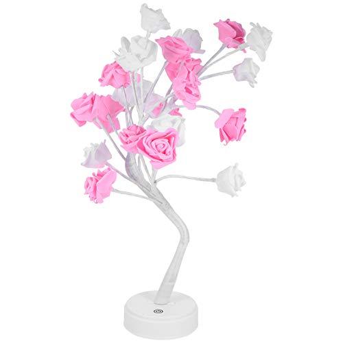 OSALADI Rose Blume Baum Form Schreibtischlampe Tischleuchten Baum Nachttischlampe Rose Blume Lichterkette Schlafzimmer Nachtlicht ohne Batterie (weiß und rosa)