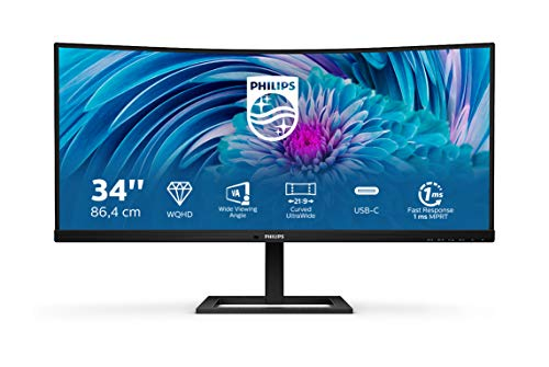 "Philips 346E2CUAE Monitor Gaming 34"" UWQHD, 21:9 con USB-C, 3440 * 1440, Adaptive Sync, 100Hz, 1ms, 300cd/m2, Display Port, Hdmi, Hub USB, Speakers Integrati, Multiview, Ergonomico, Vesa, Nero"