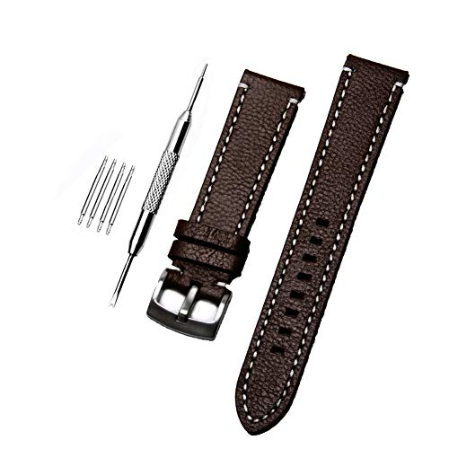 ZHUGE Unisex Cinturino Orologio Di Ricambio Da In Pelle con fibbia in acciaio inossidabile,dark brown 18MM