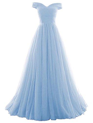 Vickyben Damen langes Ab-Schulter Tuell Prinzessin Kleid Abendkleid Ballkleid Brautjungfer kleid Party kleid