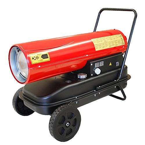 HELO Automatik Diesel Heizkanone 30 kW (rot) mit Fahrgestell auf Rädern, 560 m³/h Luftdurchsatz, Temperaturautomatik, digitale Anzeige, elektronische Zündung, 24 l Tank (inkl. Tankanzeige)