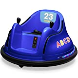 Kidzone 12V 2 Speed Bluetooth Music Kids Toy Electric Ride On Bumper Car 360 Spin Battle Vehicle with Remote Control, DIY Race# 00-99 and Alphabet Stickers, ASTM-Certified, Dark Blue