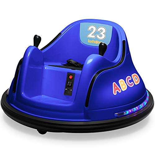 Kidzone 12V Kids Toy Electric Ride On Bumper Car 360 Spin 2 Speed Battle Vehicle with Remote Control, Bluetooth Music, DIY Race# 00-99 and Alphabet Stickers, ASTM-Certified, Dark Blue